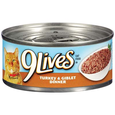 View 9 LIVES CAT FOOD 5.5 OZ CAN TURKEY & GIBLET DINNER