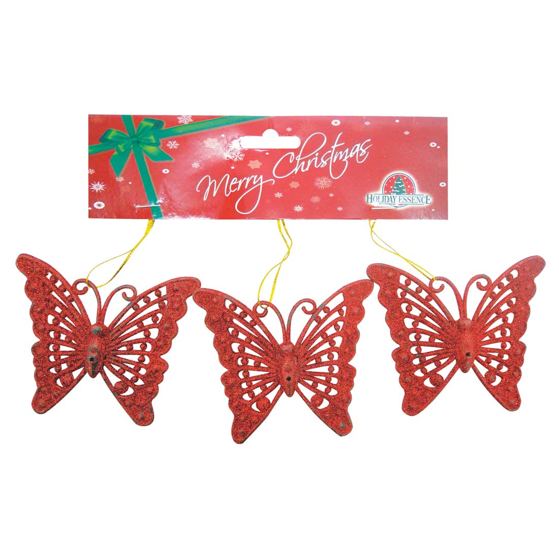 View CHRISTMAS ORNAMENT BUTTERFLY SHAPE 3 PK 2 INCH ASSORTED RED GREEN AND GOLD