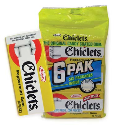 View CHICLETS GUM 6 PACK PEPPERMINT