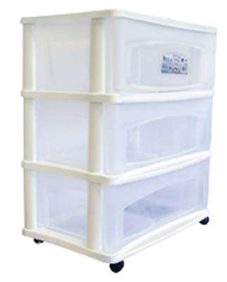 View  BELLA 3 DRAWER WIDE CART WHITE  21.75 X 14.5 X 26 INCH