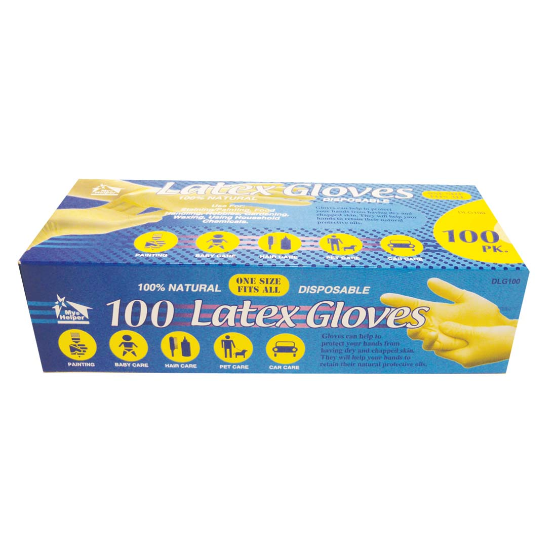 "View LATEX GLOVES 100 PACK  ""ONE SIZE FITS ALL"""