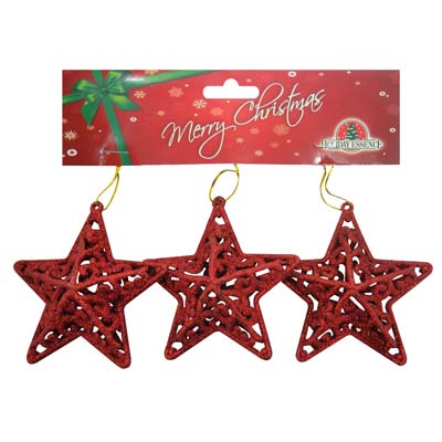 View CHRISTMAS ORNAMENT STAR SHAPE 3 PK 3 INCH ASSORTED RED GREEN AND GOLD