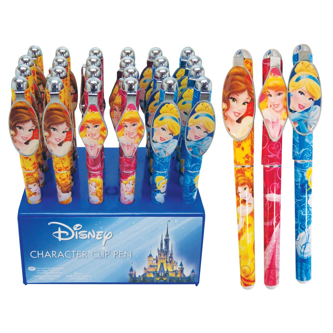 View DISNEY PRINCESS CLIP PEN 24PC IN DISPLAY ASSORTED CINDERELLA AURORA AND BELLE