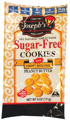 View JOSEPHS PEANUT BUTTER BITE SIZE SUGAR FREE COOKIES 6 OZ  BAG