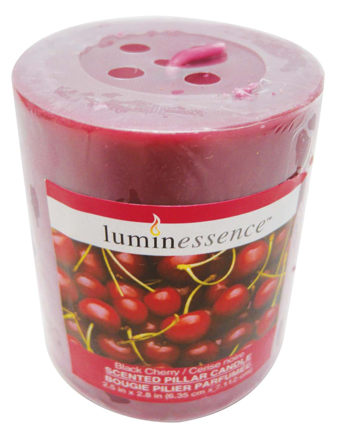 View LUMINESSENCE SCENTED PILLAR CANDLE 3 X 3 INCH BLACK CHERRY