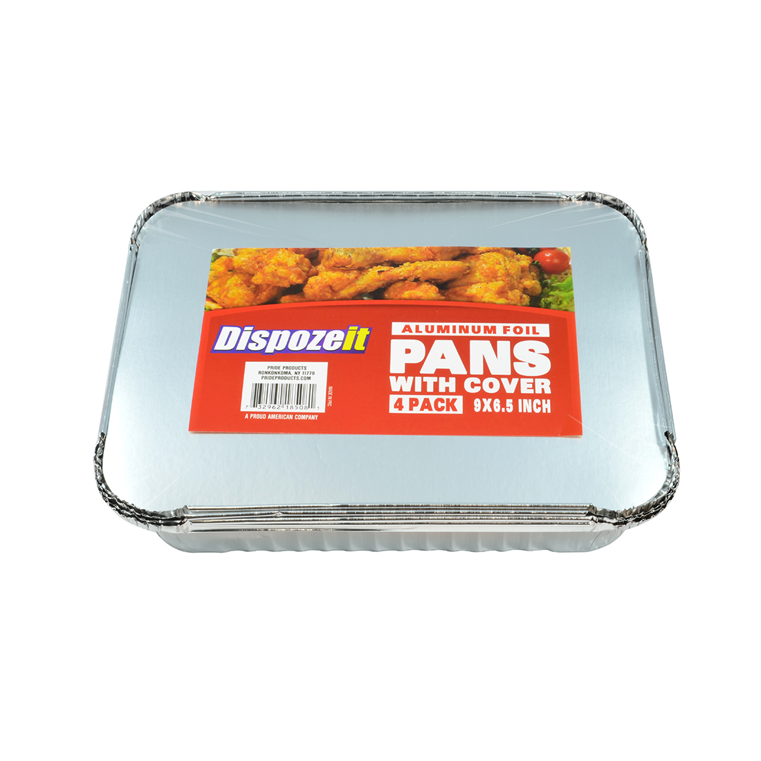View PRIDE FOIL PAN WITH COVER 4 PACK RECTANGULAR 9 X 6.5 X 2 INCHES