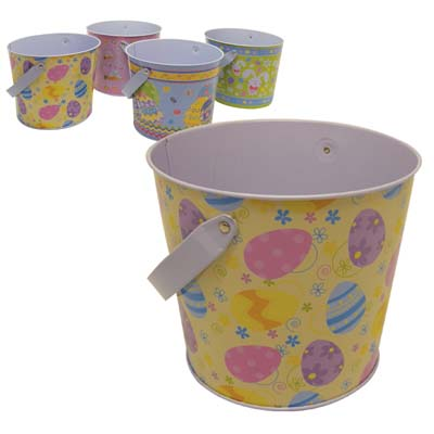 View TIN EASTER BUCKET 5.5 X 4.5 INCH ASSORTED DESIGNS