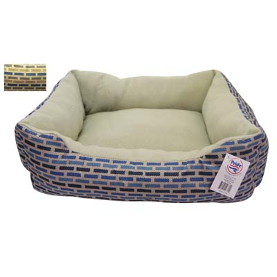 View SOFT PET BED 19 X 16 INCH RECTANGULAR STRIPED DESIGN BROWN/GREY
