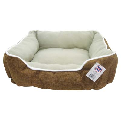 View SOFT PET BED 21 X 18 INCH RECTANGULAR BROWN