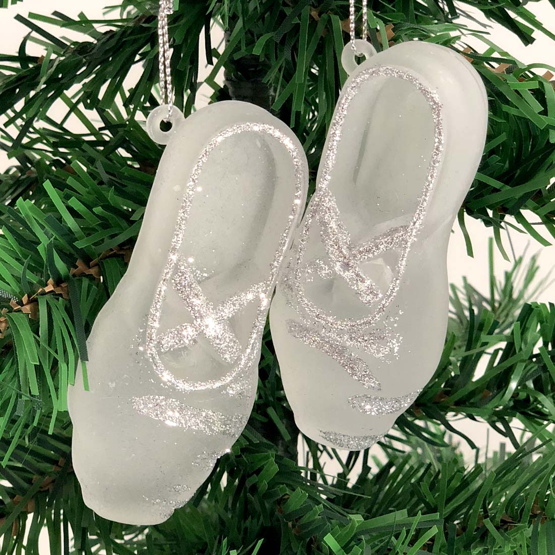 View CHRISTMAS BALLET SHOE ORNAMENT 2 PACK 3.5x1.5 INCH ASSORTED COLORS PREPRICED AT $2.99
