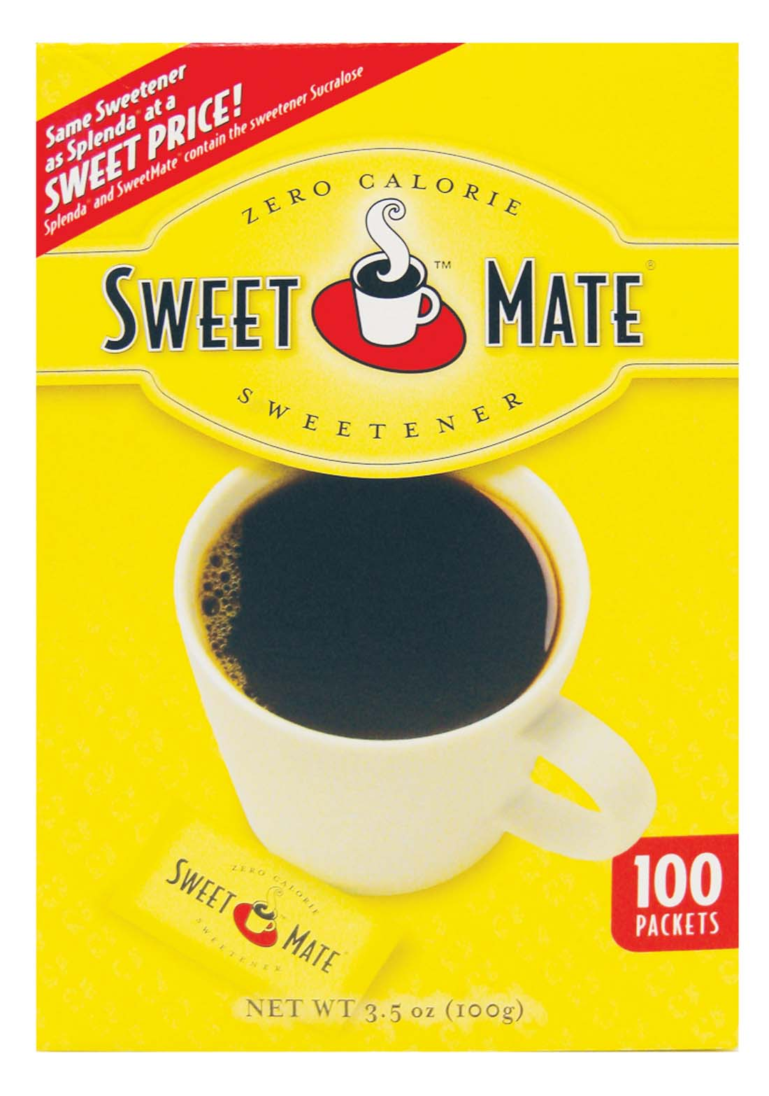 "View SWEETMATE SWEETENER PACKETS 100 CT 3.5 OZ ""COMPARE TO SPLENDA"""