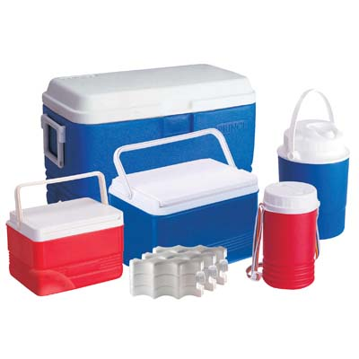 View COOLER SET 5 PIECE RED & BLUE - 11.75 GALLON COOLER 3.75 GALLON COOLER 1.6 GALLON COOLER 0.65 GALLON JUG 0.35 GALLON JUG AND 3 ICE PACKS