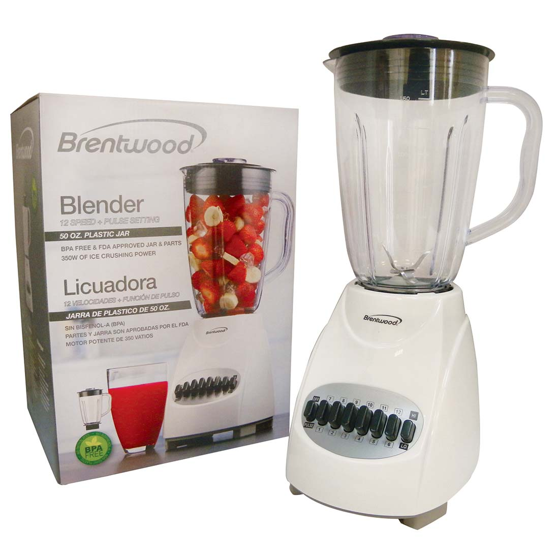 View BRENTWOOD 12 SPEED+PULSE BLENDER 50 OUNCE WHITE CETL LISTED