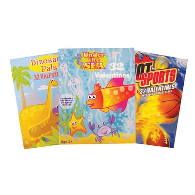 View VALENTINE CARDS 32 COUNT HOT SPORTS/DINOSAUR PALS/UNDER THE SEA