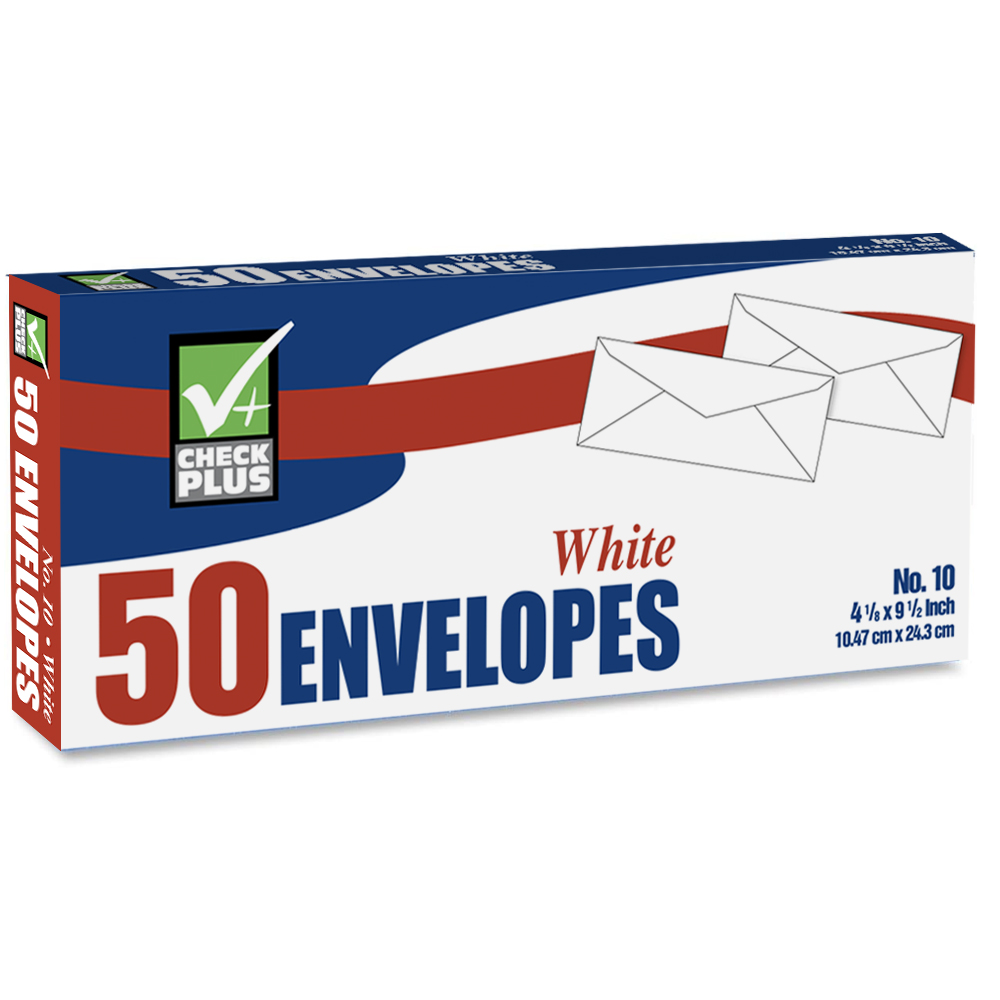 View PRIDE WHITE ENVELOPES 50 COUNT 4 1/8 X 9 1/2 INCH