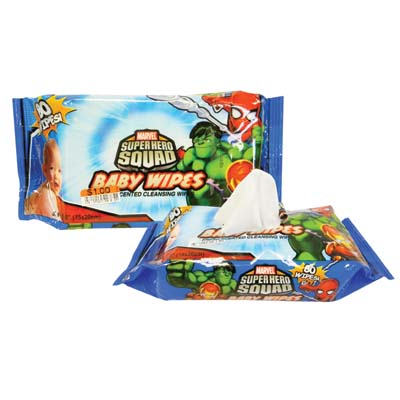 View MARVEL SUPER HERO SQUAD BABY WIPES 80 COUNT FRESH SCENT