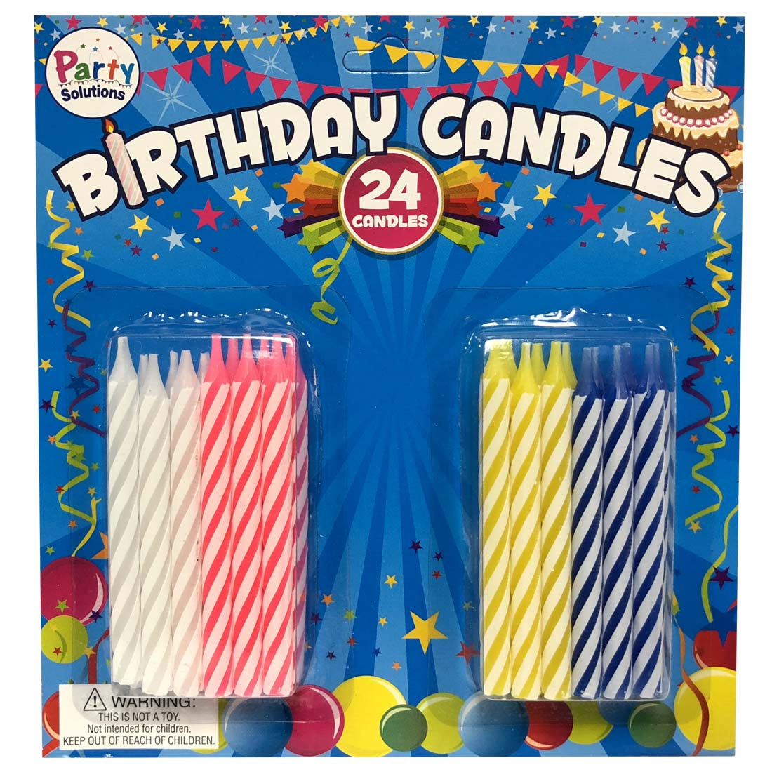 View BIRTHDAY CANDLES 24 COUNT 2.5 INCH ASTD COLORS