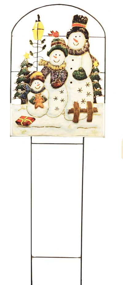 View CHRISTMAS TIN SNOWMAN LAWN DECORATION 56 X 17.75 INCH JUMBO