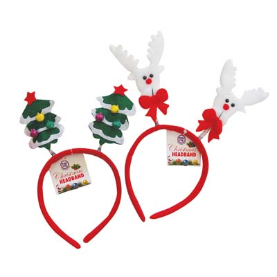 View CHRISTMAS HEADBAND ASTD REINDEER/CHRISTMAS TREE DESIGNS