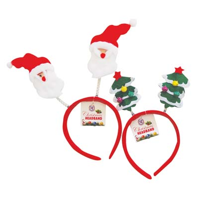 View CHRISTMAS HEADBAND ASTD SANTA/CHRISTMAS TREE DESIGNS