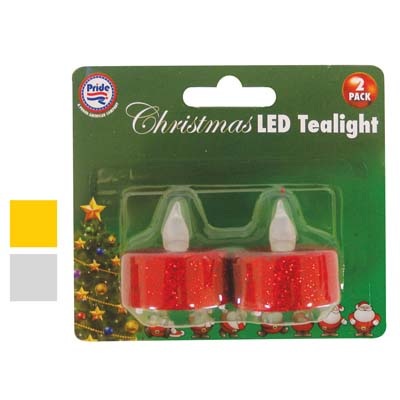 View CHRISTMAS LED TEALIGHT 2 PACK ASSORTED GLITTER COLORS
