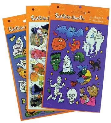 View HALLOWEEN STICKERS 2 SHEET ASSORTED DESIGNS PREPRICED $1.59 **MADE IN USA**