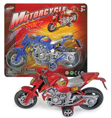 View MOTORCYCLE 6 INCH WITH PULL BACK ACTION RED OR BLUE