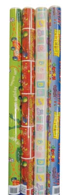 View GIFT WRAP 20 SQUARE FEET BOYS BIRTHDAY/JUVENILE ASSORTED DESIGNS