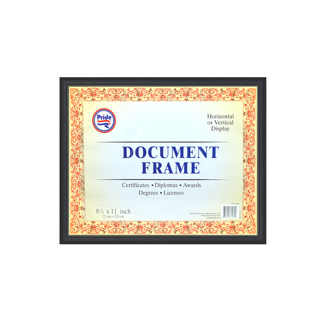 View DOCUMENT/DIPLOMA FRAME WITH WOOD BACK 8.5x11 INCH
