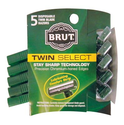 View BRUT TWIN BLADE DISPOSABLE RAZORS 5 COUNT