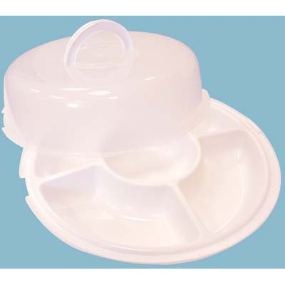 View PRIDE CHIP N DIP TRAY WITH LOCKED COVER 5 SECTION 14 INCH WHITE