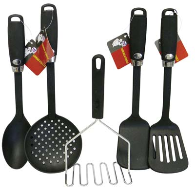 View NYLON KITCHEN UTENSIL 12 INCH WITH PLASTIC HANDLE - SKIMMER SPATULA LADLE SPOON SLOTTED SPOON & TURNER