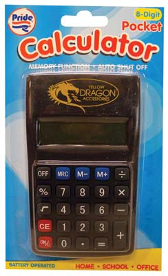View PRIDE POCKET CALCULATOR BATTERIES INCLUDED  8 DIGIT BLACK