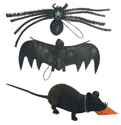 View RUBBER HALLOWEEN DECORATIONS BLACK  (HANGING BAT SPIDER SCARY RAT) PREPRICED $ 1.49