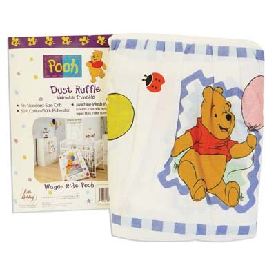 View POOH BABY CRIB DUST RUFFLE WAGON RIDE DESIGN