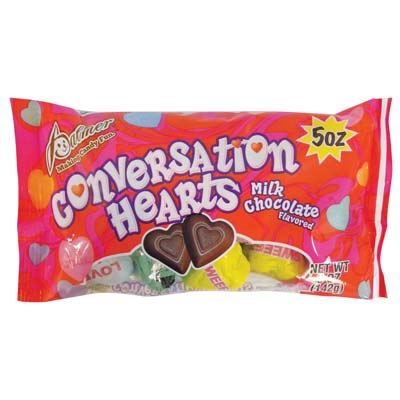 View PALMER CONVERSATION HEARTS 5 OZ MILK CHOCOLATE **MADE IN USA**