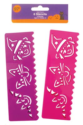 View HALLOWEEN STENCILS 8 COUNT PURPLE/PINK PREPRICED $0.97