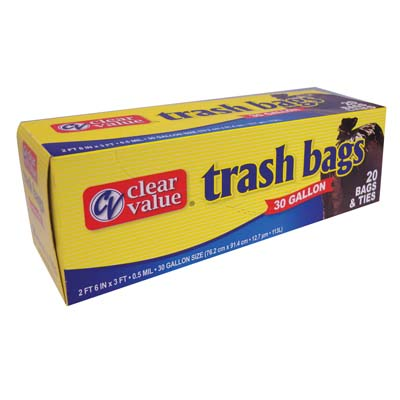 View CLEAR VALUE TRASH BAGS 20 CT 30 GALLON BLACK