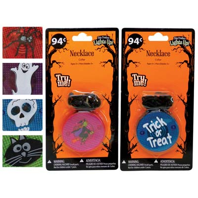 View HALLOWEEN NECKLACE COLLAR ASSORTED DESIGNS AND COLORS: PURPLE GHOST RED SPIDER GREEN CAT AND BLUE SKULL PREPRICED $0.94