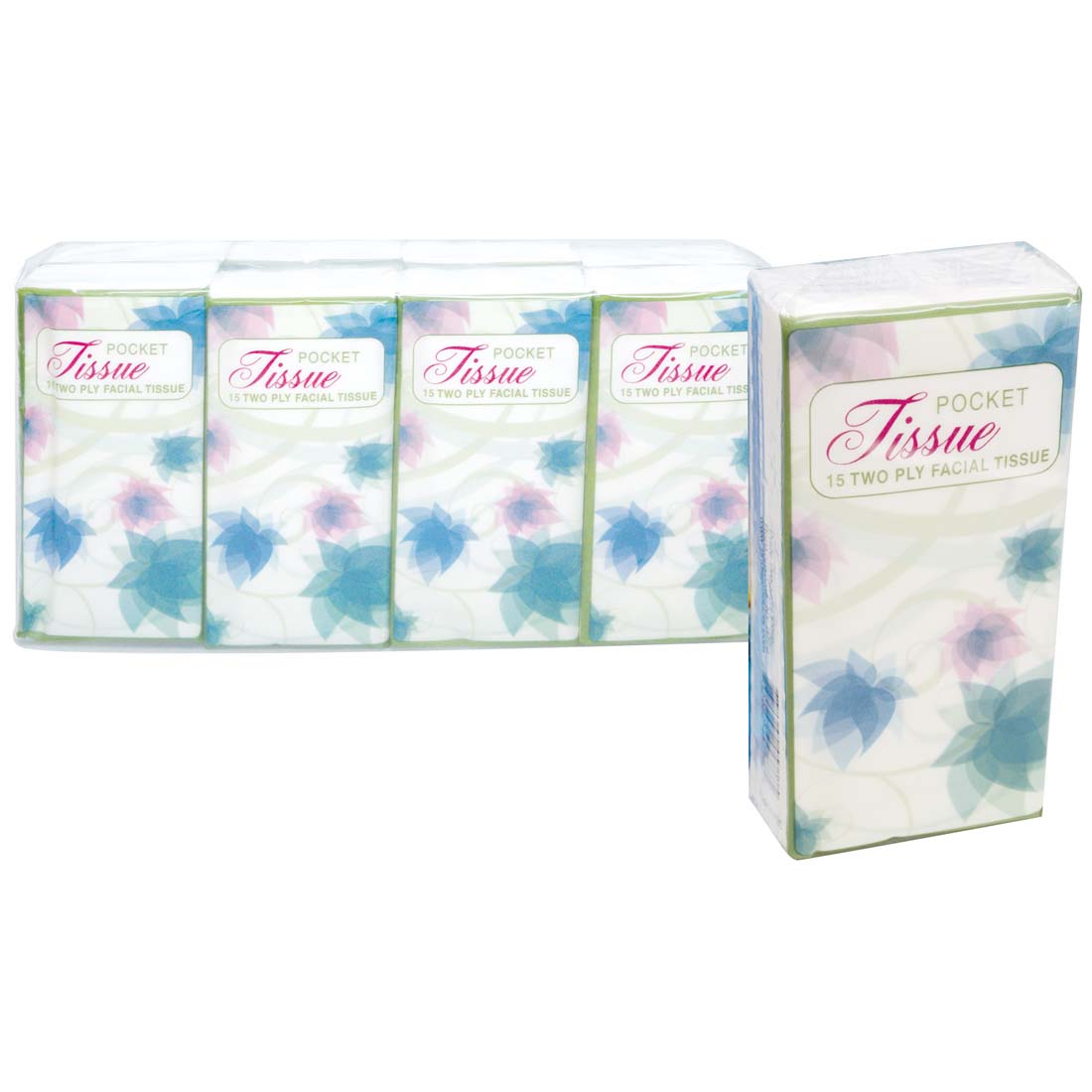 View PRIDE POCKET TISSUE 8 PACK 15 COUNT 2 PLY FLORAL DESIGN