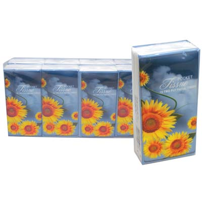 View PRIDE POCKET TISSUE 8 PACK 15 COUNT 2 PLY SUNFLOWER DESIGN