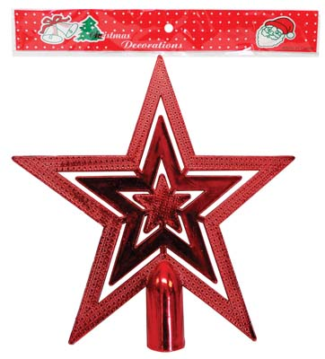 View PRIDE CHRISTMAS TREE TOPPER STAR 7.5 INCH RED