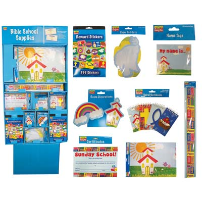 View CHRISTIAN SCHOOL STATIONERY SUPPLY CENTER W/ DISPLAY - WALL BANNERS CERTIFICATES WALL BORDERS PAPER CUT-OUTS REWARD STICKERS DECORATIONS PADS