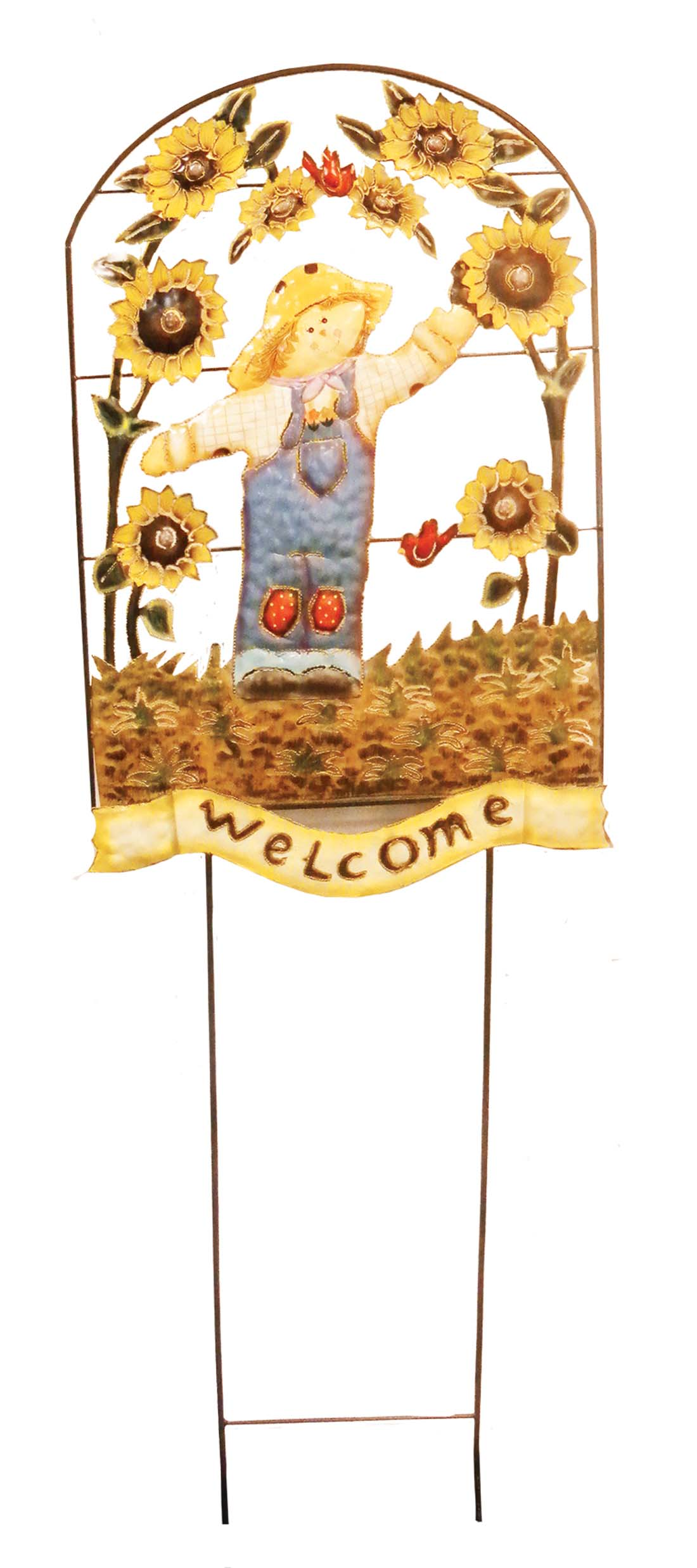 "View HAND PAINTED SCARECROW LAWN WELCOME DECORATION JUMBO 57"" TALL X 18"" WIDE"