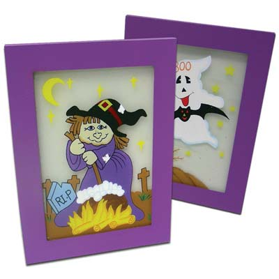 View HALLOWEEN HAND PAINTED GLASS FRAMES 7.5x5.5 INCH ASSORTED PREPRICED AT $2.99