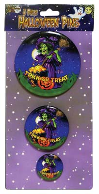 View HALLOWEEN BUTTON PINS 3.5 2.5 & 1.5 INCH  PREPRICED AT $2.99