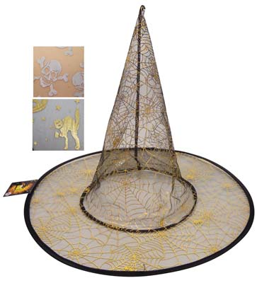 View HALLOWEEN HAT WITH GOLD PRINTING 15 INCH ASTD DESIGNS