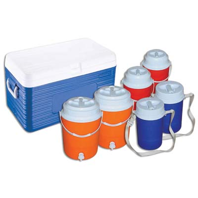 View INSULATED CHILLER COMBO SET OF 7 - 13.5 GALLON COOLER 2-2GALLON JUGS 2-0.65 GALLON JUGS 2- 0.35 GALLON JUGS