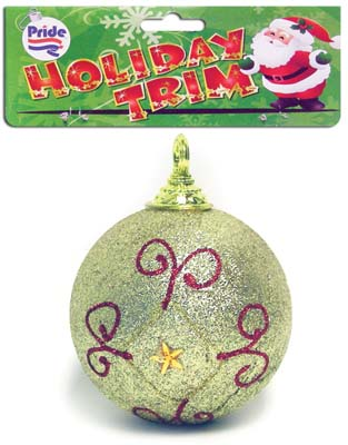 View CHRISTMAS BALL WITH GLITTER DECORATION 3.5 INCH ASSORTED DESIGNS