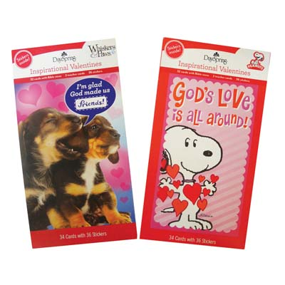 View INSPIRATIONAL VALENTINE CARDS 32 COUNT WITH BIBLE VERSE PEANUTS/WHISKER AND PAWS